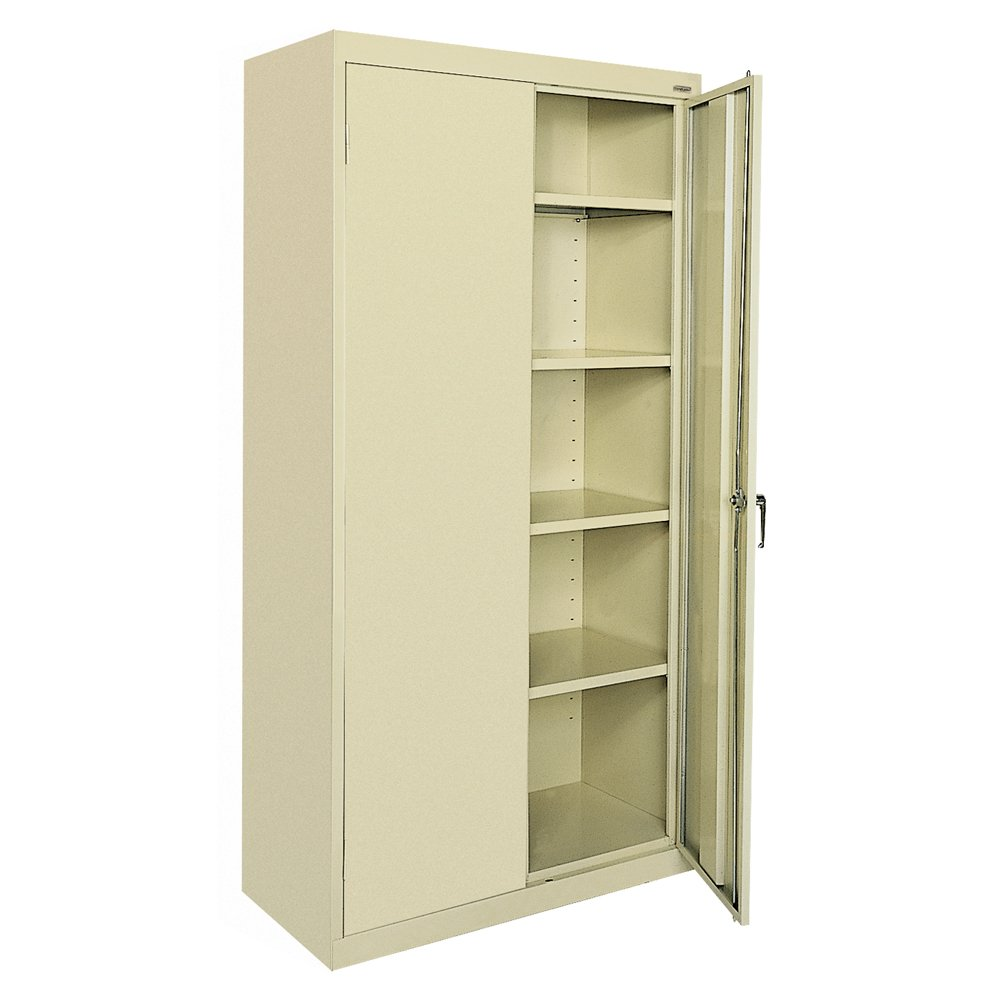 "Sandusky Lee CA41361872-07, Welded Steel Classic Storage Cabinet, 4 Adjustable Shelves, Locking Swing-Out Doors, 72"" Height x 36"" Width x 18"" Depth, Putty"
