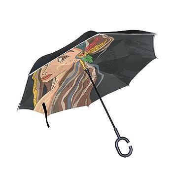 MUMIMI Paraguas invertido de doble capa, resistente al viento, protección UV, paraguas invertido