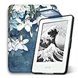 Young me All New Kindle E-reader Rechargeable Led Light and Auto Wake/Sleep and Hand Strap Leather Cover/Case for Kindle 2016 6 inch 8th generation(Not Fit Kindle Paperwhite) Kapok