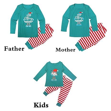 FastDirect Conjunto Pijamas Familia Navidad a Juego con Dos Piezas Top Manga Larga Pantalones Rayas: Amazon.es: Ropa y accesorios