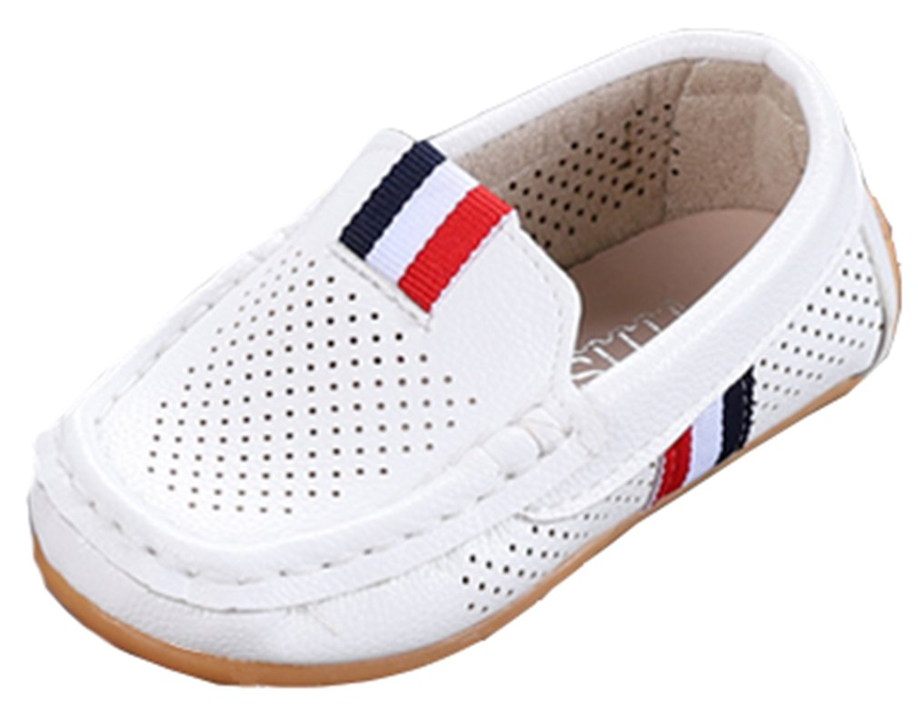VECJUNIA Boy's Girl's Soft Sole Anti-Skid Slip-On Casual Flat Loafer Shoes (White, 7 M US Toddler)