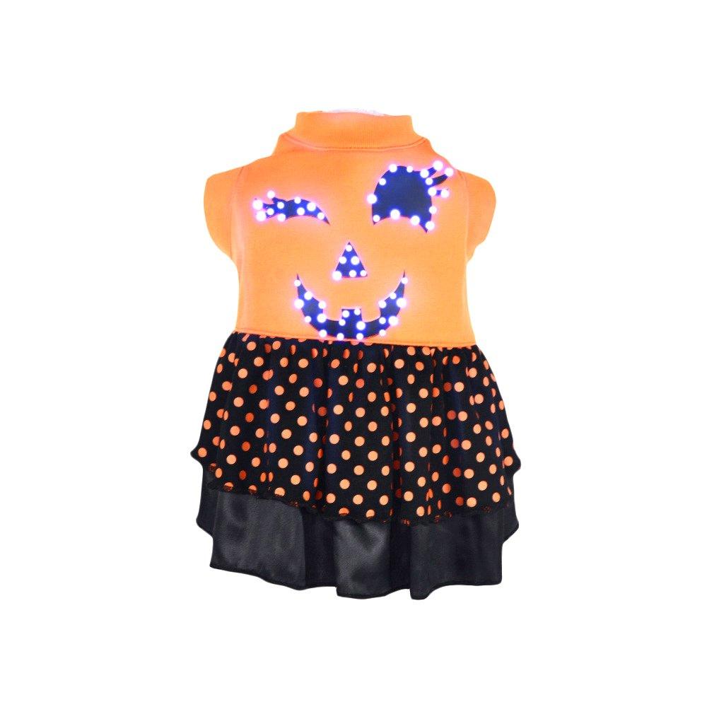 orange Medium orange Medium PET LIFE 'Spook Dress' LED Lighting Fashion Designer Holiday Pet Dog Costume Sweater Hoodie w Included Batteries, Medium, orange