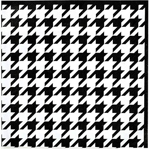 Houndstooth Luncheon Paper Napkins (Luncheon, 16 Pack, Black and White) Alabama Houndstooth Collection by Havercamp (Houndstooth Supplies Party)