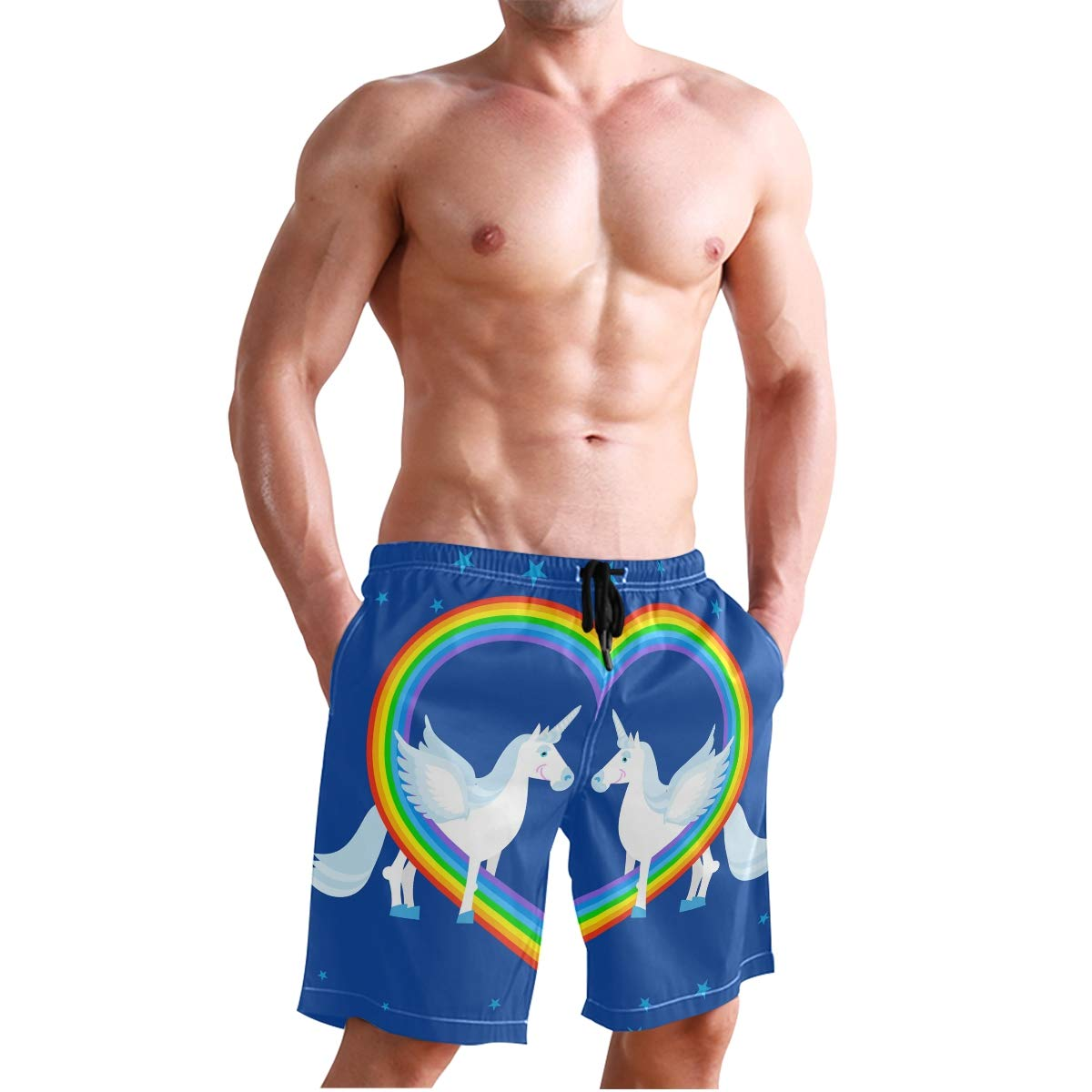 Mens Beach Swim Trunks Two Blue Unicorn Rainbow Heart Boxer Swimsuit Underwear Board Shorts with Pocket