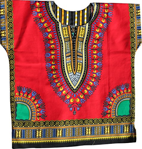 RaanPahMuang Unisex Bright Africa Colour Children Dashiki Cotton Shirt, 3-6 Years Tall, Red by RaanPahMuang