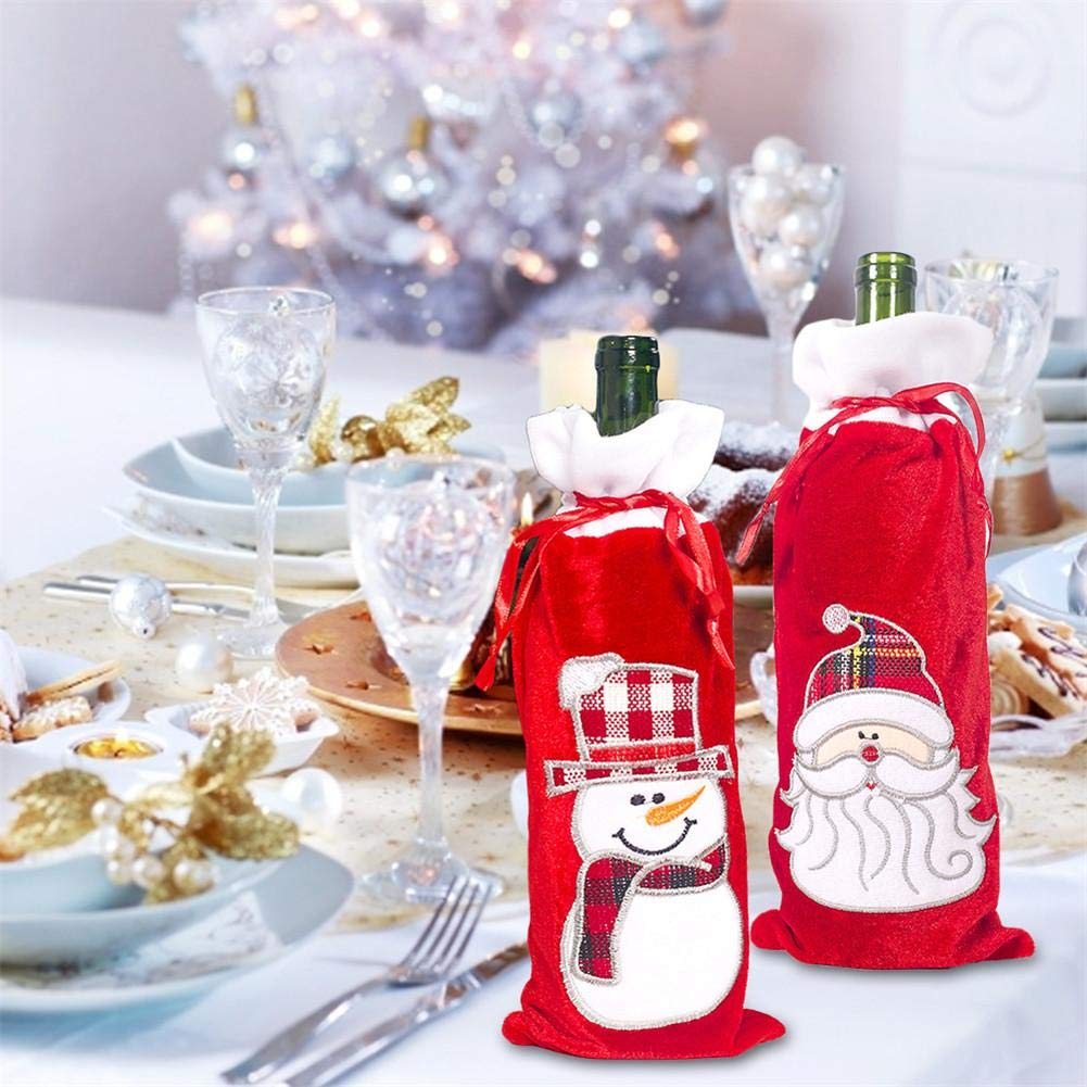 miraculocy Christmas Wine Bottle Cover Bags Sweater Holiday Champagne Bottle Cover For Party Dinning-table Bottle Decorations