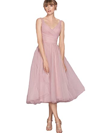 cb7566fd55d5 jxlunn Women's Tulle Prom Dresses Tea Length Evening Gown V-Neck Bridesmaid  Dress US2 Blush