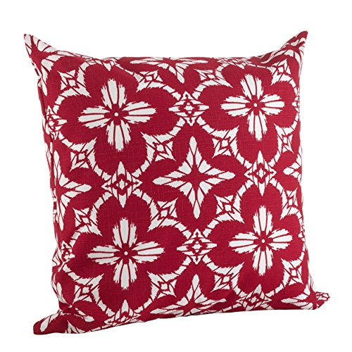 "SARO LIFESTYLE Indoor/Outdoor Quatrefoil Tile Print Poly Filled Throw Pillow (1922.R21S) 21"" Red"