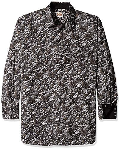 Ely & Walker Men's Long Sleeve Paisley Shirt, Black Print, Medium (Paisley Snap Western Shirt)