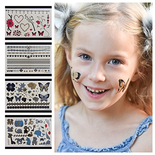 Twink Designs Temporary Tattoos for Girls - 92 Tattoos on 4 Sheets - Best for Party Favors Birthday Party Supplies Goodie Bags and Stocking Stuffers - 4 Pages of Childrens Metallic Temporary Tattoo