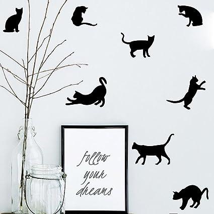 9 Pegatinas silueta gato color negro pared vinilo decorativo escaparates mascotas perros gatos clinicas veterinarias de