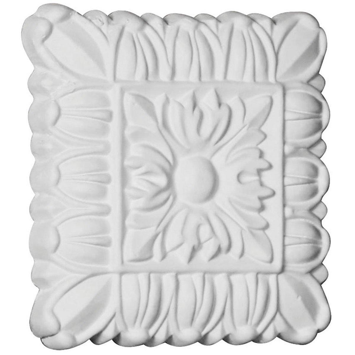 White Ekena Millwork ROS04X04BA W x 4 1//8 H x 5//8 P Baltimore Rosette