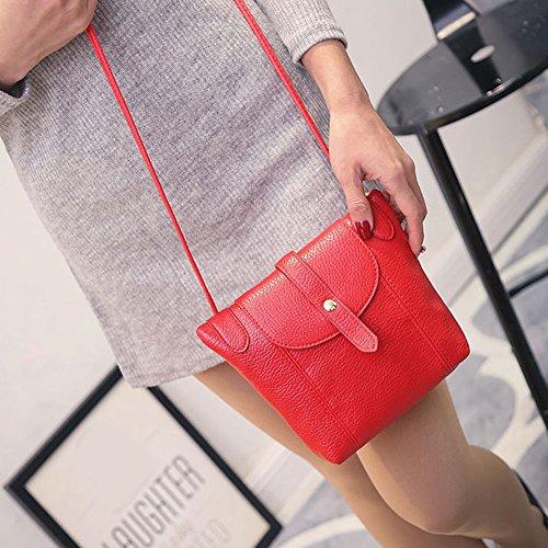 New Fashion Women Messenger Bag PU Leather Crossbody Satchel Shoulder Handbag Color Red.
