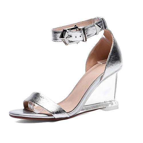 Zapatillas De Tacón Alto Slope Punta Abierta Envolver El Talón Crystal  Tacones Mujer Verano Moda Sandalias  Amazon.es  Zapatos y complementos b259a6da3817