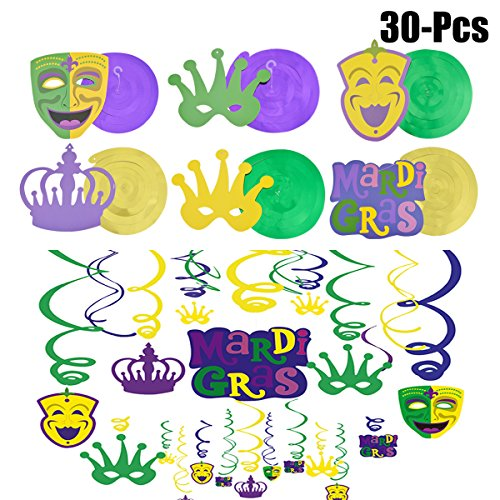 FunPa Mardi Gras Hanging Swirls, 30 Pcs Mardi Gras Decorations Crown and Mask Cutouts Hanging Decor for Mardi Gras
