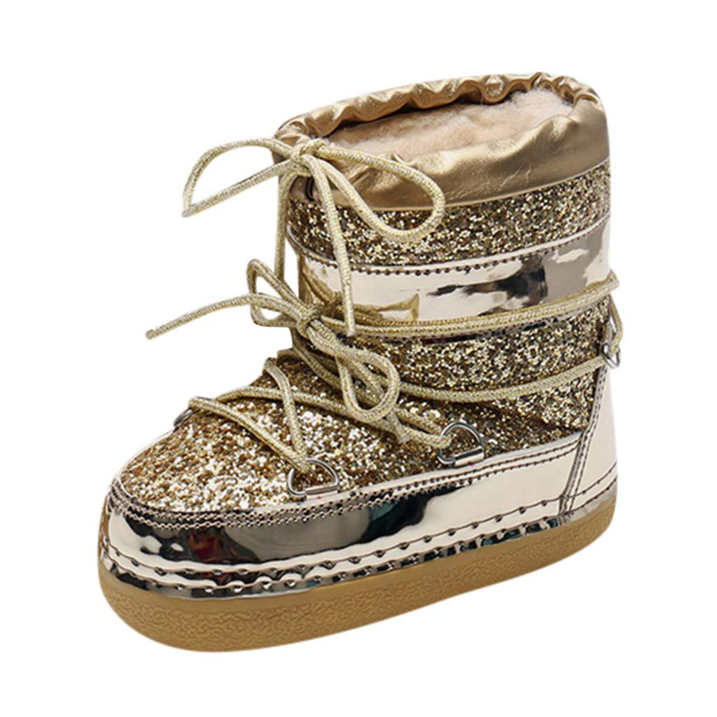 Fheaven Women's Winter Snow Boots Ankle Boots Mirror Sequins Faced Overcoat Casual Platform Non-Slip Shoes Gold by Fheaven-shoes
