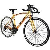 ロードバイク スポーツバイク 700C シマノ14段変速 超軽量高炭素鋼フレーム ライトのプレゼント付き クロスバイク ドロップハンドル 自転車 PL保険加入 SF-01