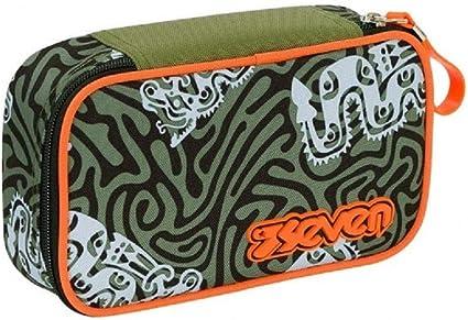 Estuche escolar Seven completo Quick Case Totem verde naranja 22 x 12 x 6 cm: Amazon.es: Oficina y papelería
