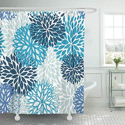 Emvency Shower Curtain 66x72 Inch Home Postcard Decor Brown Abstract Spring Flower Blue and Navy Chrysanthemum for Design Green Aster Cute Shower Hook Set are Included