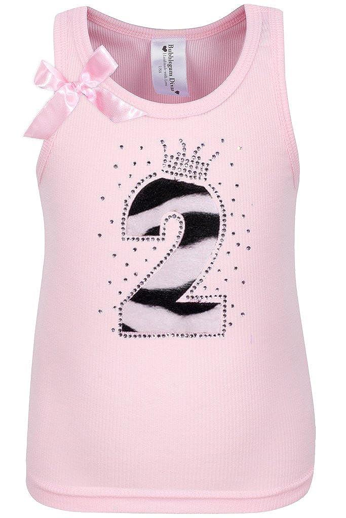 Bubblegum Divas Baby Girls 2nd Birthday Pink Zebra Print Animal Shirt