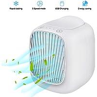 Mobile klimageräte, Basein Mini Air Cooler, 3 in 1 Persönliche Klimaanlage, Luftbefeuchter und Luftreiniger, USB mini luftkühler mit wassertank und 3 Leistungsstufen für Zuhause und Büro