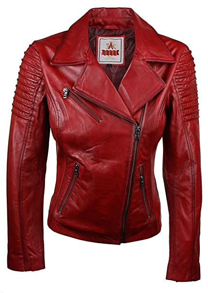 7818b923fac Ladies Women Genuine Real Leather Slim Fit Red Biker Jacket: Amazon ...
