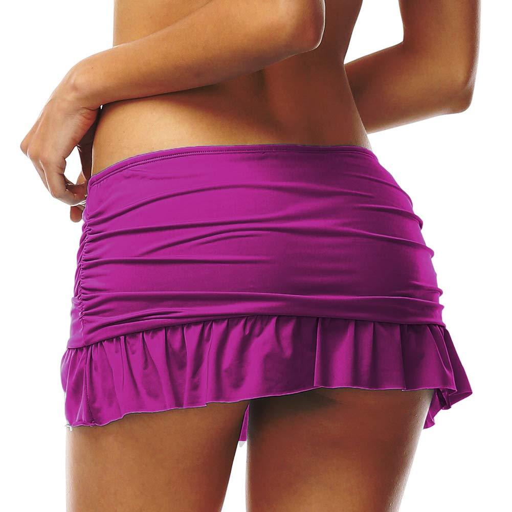 DUSISHIDAN Baderock Bikinihosen Damen UV Schutz Bikini Rock Schwimmen Wassersport Badeshorts mit Innenslip