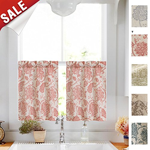 Floral Scroll Printed Linen Curtains Tiers - Ikat Flax Textured Medallion Design Jacobean Floral Printed Retro Bedroom Window Curtains 24 Inches Long (Poppy Red, 1 (Paisley Window)