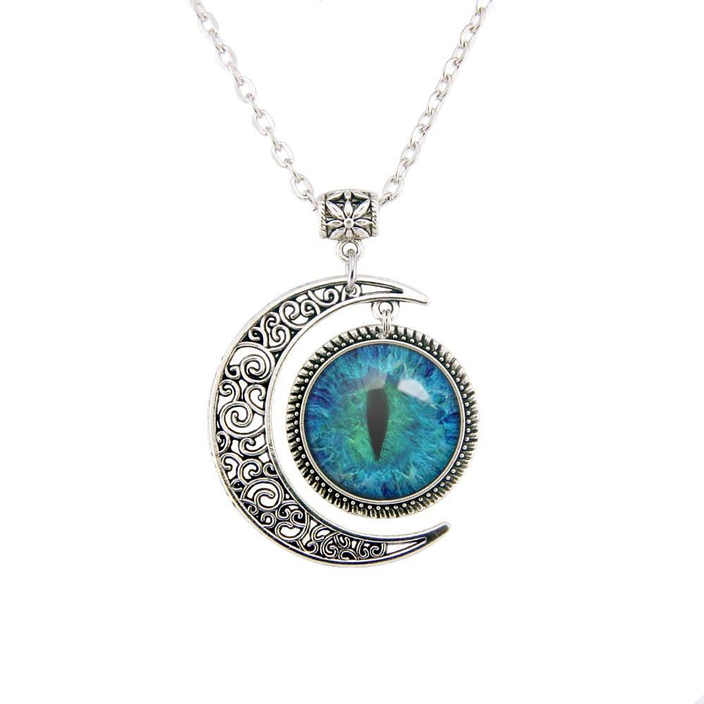 a82d8fdecd0d0a Amazon.com: LERYDESI Moon Pendants Blue Cat Eye Pendant Blue Eye necklace  Eyes necklace pendant handmade jewelry: Jewelry