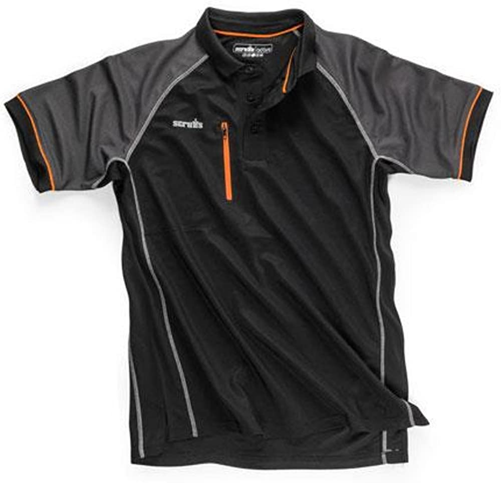 SCRUFFS Trade Active Polo T Shirt Black New for 2018 Workwear Summer Clothing