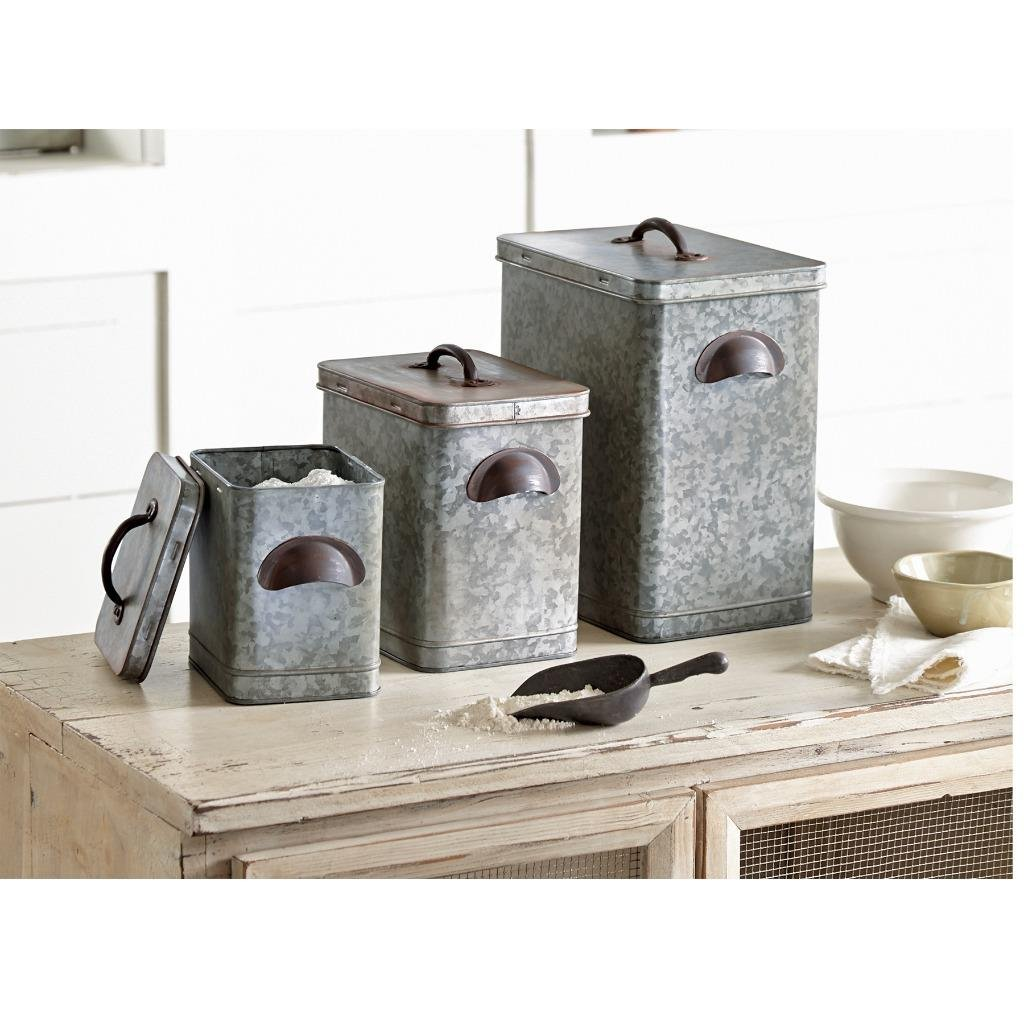 Mud Pie 4935002 Galvanized Tin Farmhouse Canister Set, One Size, Silver