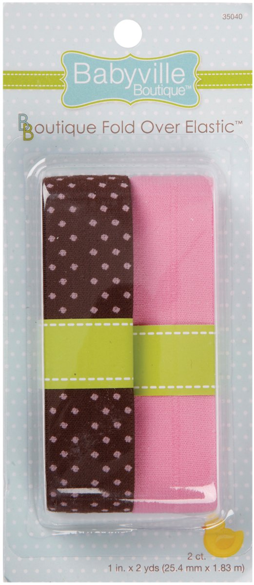 Dritz Babyville Boutique Fold Over Elastic, Brown with Dots and Solid Pink 35040