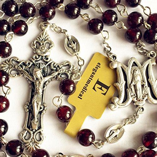 elegantmedical Handmade Garnet Gemstone Beads Our Lady of Virgin Mary Catholic Rosary Necklace Cross Box
