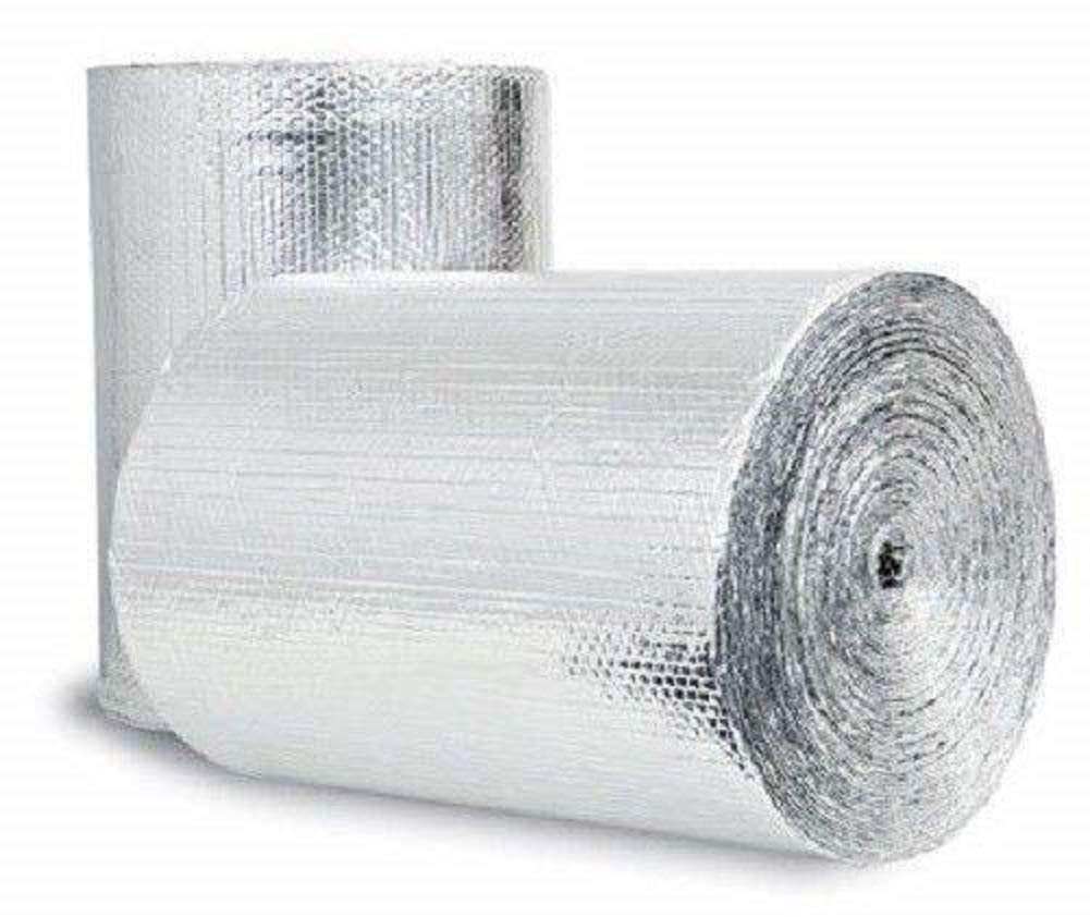 "US Energy Products Double Sided Reflective Heat Radiant Barrier Aluminum Foil Insulation (1/4 Thick R8 Double Poly-Air) Roll: Walls Attics Air Ducts Windows Radiators HVAC Garages + More (16"" x 200')"