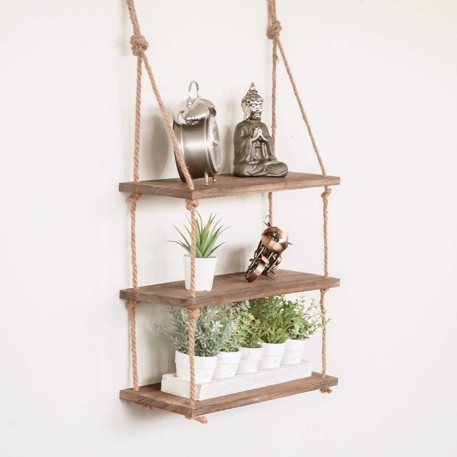 lowest price fe01a eb4e9 HomeZone® 3 Tier Vintage Shabby Chic Shelving With Rope Shelf Rustic  Floating Shelf Multiple Tiered Shelving Wall Hanging Storage Home Storage  ...