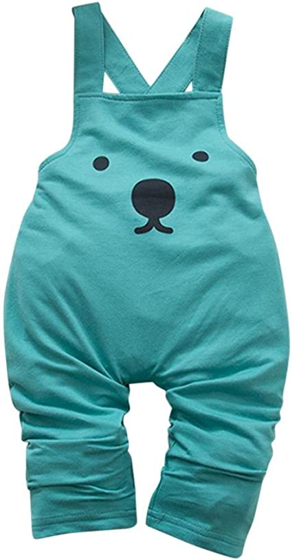 Toddler Kids Baby Boy Girls Bear Overalls Strap Rompers Jumpsuit Outfits Clothes
