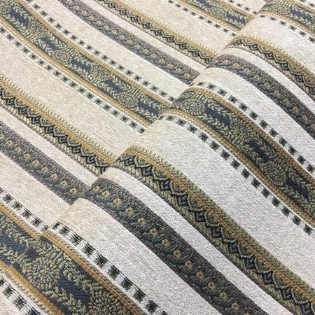 Railroaded Stripe - Pukido Classic Stripe Jacquard Woven Heavy Soft Chenille Railroaded Curtain Drapery Sofa Decorative Fabric 280cm Width Sell by Meter - (Color: Beige)