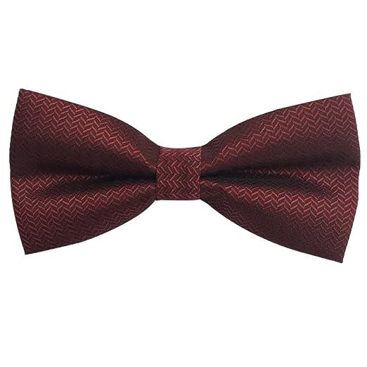 3dc87a096 Mens Formal Pre-tied Striped Bow tie Burgundy bowtie (Burgundy) at ...