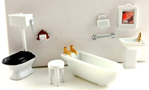 Dollhouse Minaiture 1:48 Scale Plastic Bathroom Furniture Set Suite