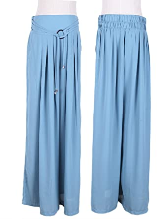 Maxchic Women's Cotton Blended Elastic Waist Wide Leg Pants ...