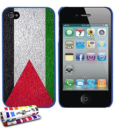 Ultraflache weiche Schutzhülle APPLE IPHONE 4 / IPHONE 4S [Palästina Flagge] [Blau] von MUZZANO + STIFT und MICROFASERTUCH MUZZANO® GRATIS - Das ULTIMATIVE, ELEGANTE UND LANGLEBIGE Schutz-Case für Ihr