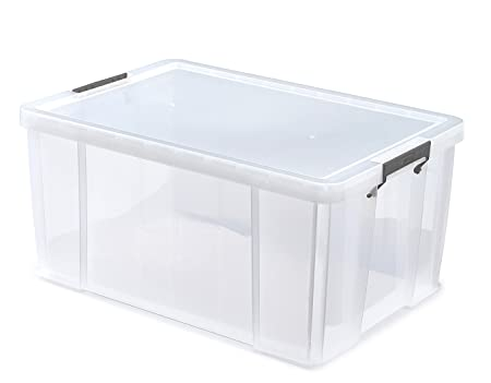 Whitefurze Allstore Container with Silver Cl& Plastic Natural 70 Litre  sc 1 st  Amazon UK : 70 litre plastic storage boxes  - Aquiesqueretaro.Com
