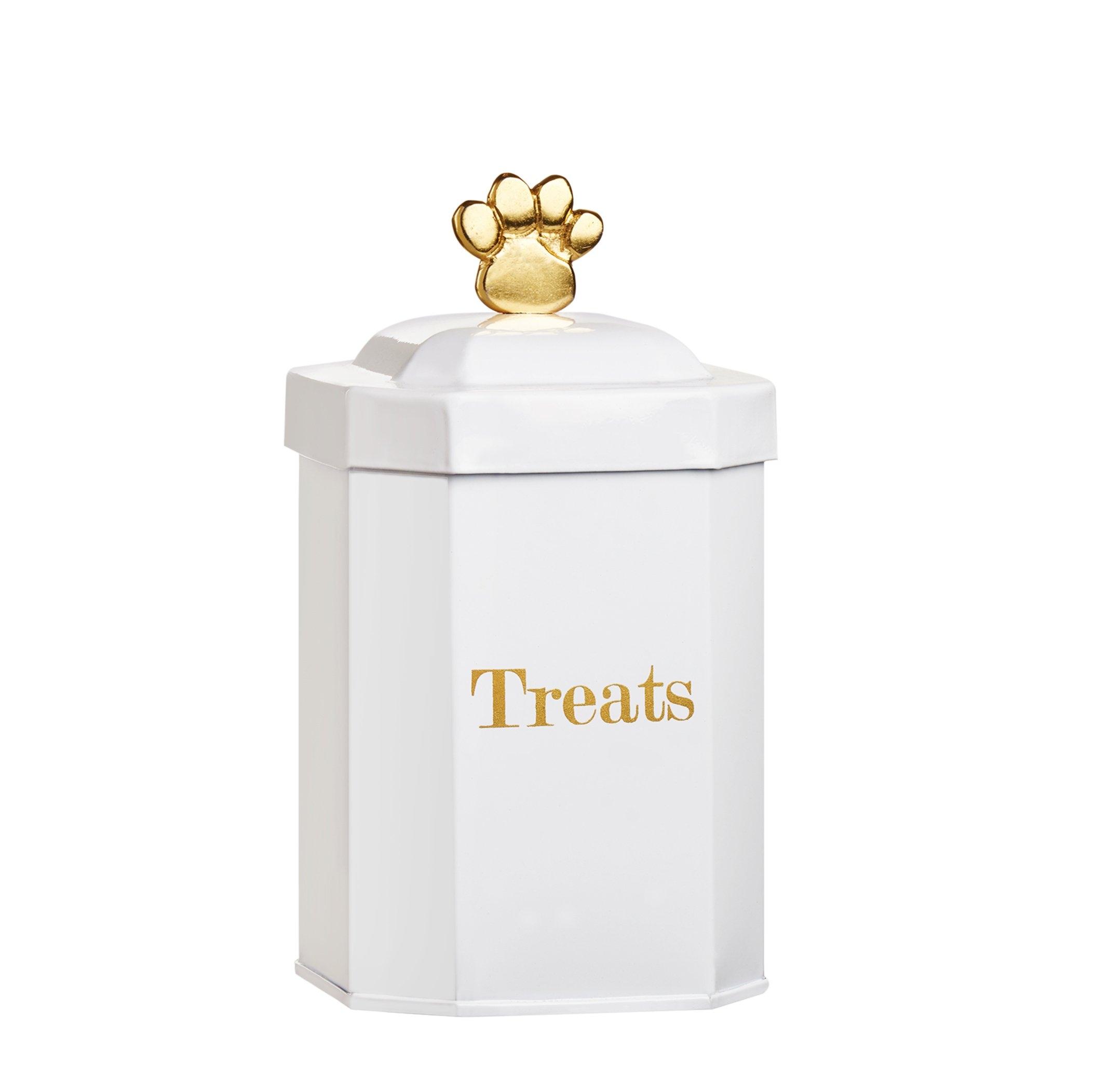 Amici Pet, A5GS040R, Posh Pet Collection Metal Storage Canister, Food Safe, Gold Paw Shaped Handle, Made in India, 36 Ounces, Small