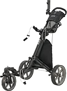KVV 3 Wheel 360 Rotating Front Wheel Foldable/Collapsible Golf Push Cart with Foot Brake Open and Close in ONE Second-Free Umbrella Holder Included