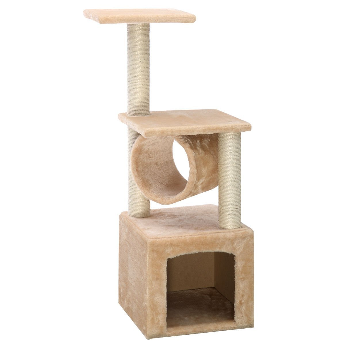 Cat Tree Tower Condo Kitten Indoor Bed Perch Modern Sturdy Scratcher Scratching Post Furniture Play Pet Home House, 36'' Height, Beige