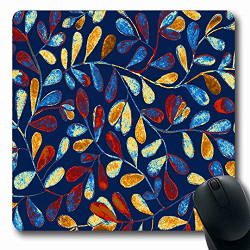 Ahawoso Mousepads Pictorial Navy Painting Bright Blue Floral Flower Forest Orange Tiny Abstract Batik Border Bosk Oblong Shape 7.9 x 9.5 Inches Non-Slip Gaming Mouse Pad Rubber Oblong Mat