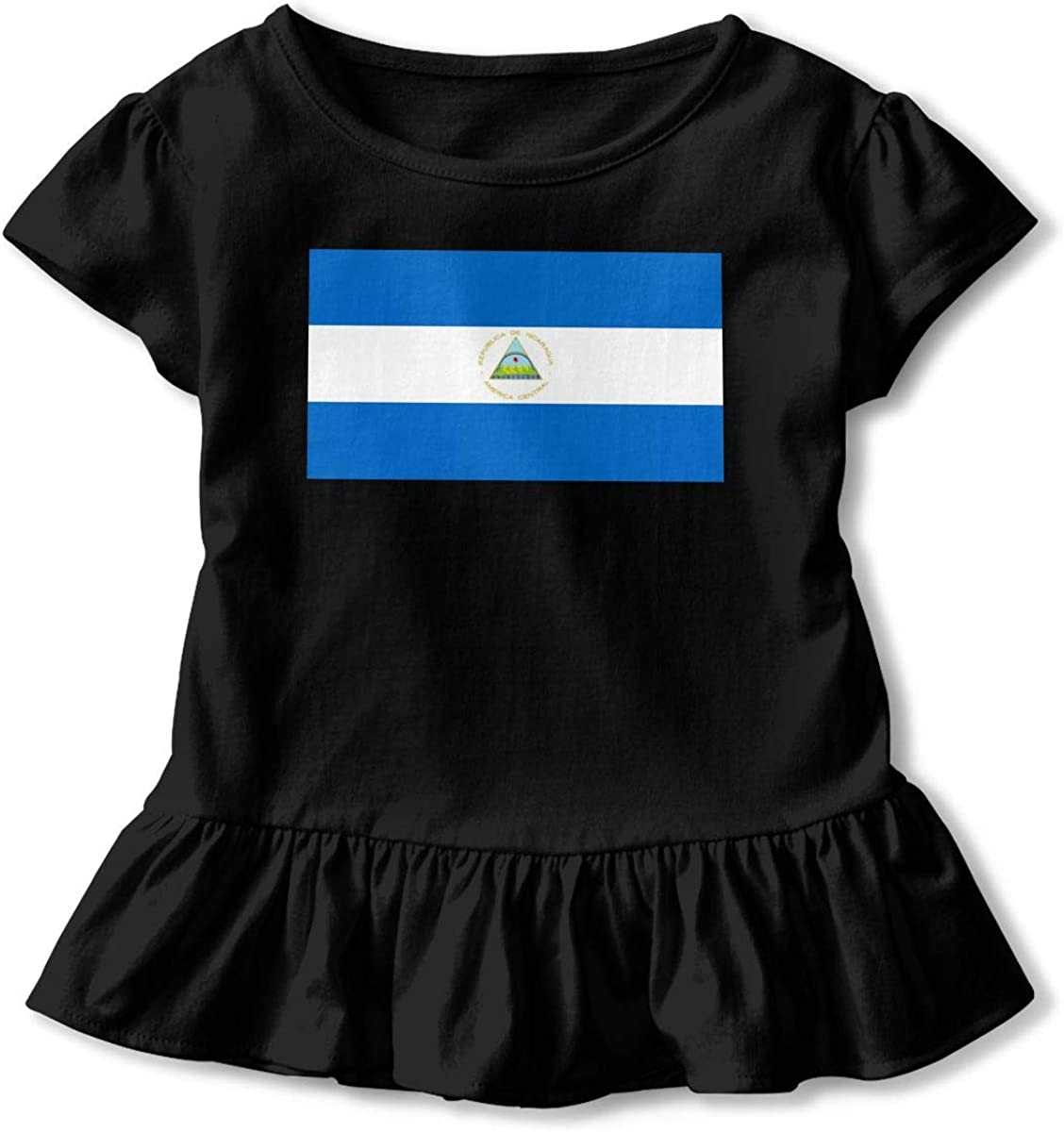 Nicaragua Flag Baby Girl Short Sleeve T-Shirt Flounced Cotton Outfits for 2-6 Years Old Baby