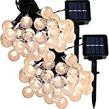 Sunnydaze Set of 2, 20 Foot 30-Count LED Solar Powered String Lights Outdoor Globe, Warm White