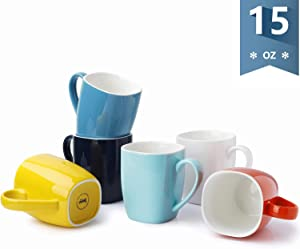 Sweese 612.002 Porcelain Mugs - 15 Ounce Perfect for Coffee, Tea, Cocoa, Oatmeal, Set of 6, Hot Assorted Colors