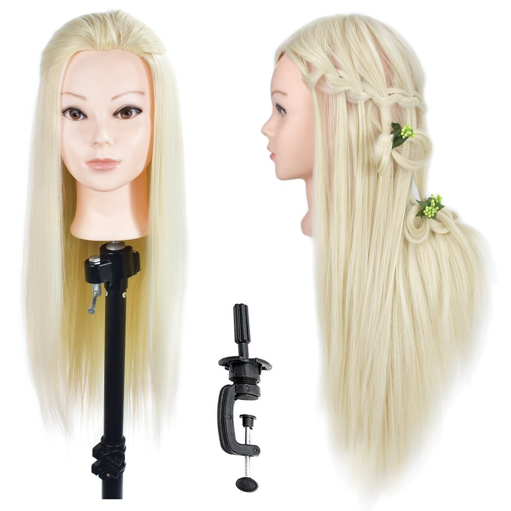 Ba Sha Mannequin Head, 28 Inches Long Hair For Hairdresser Manikin Hairdressing Dummy Doll Heads Synthetic Hair Styling Mannequins Training with Free Table Clamp